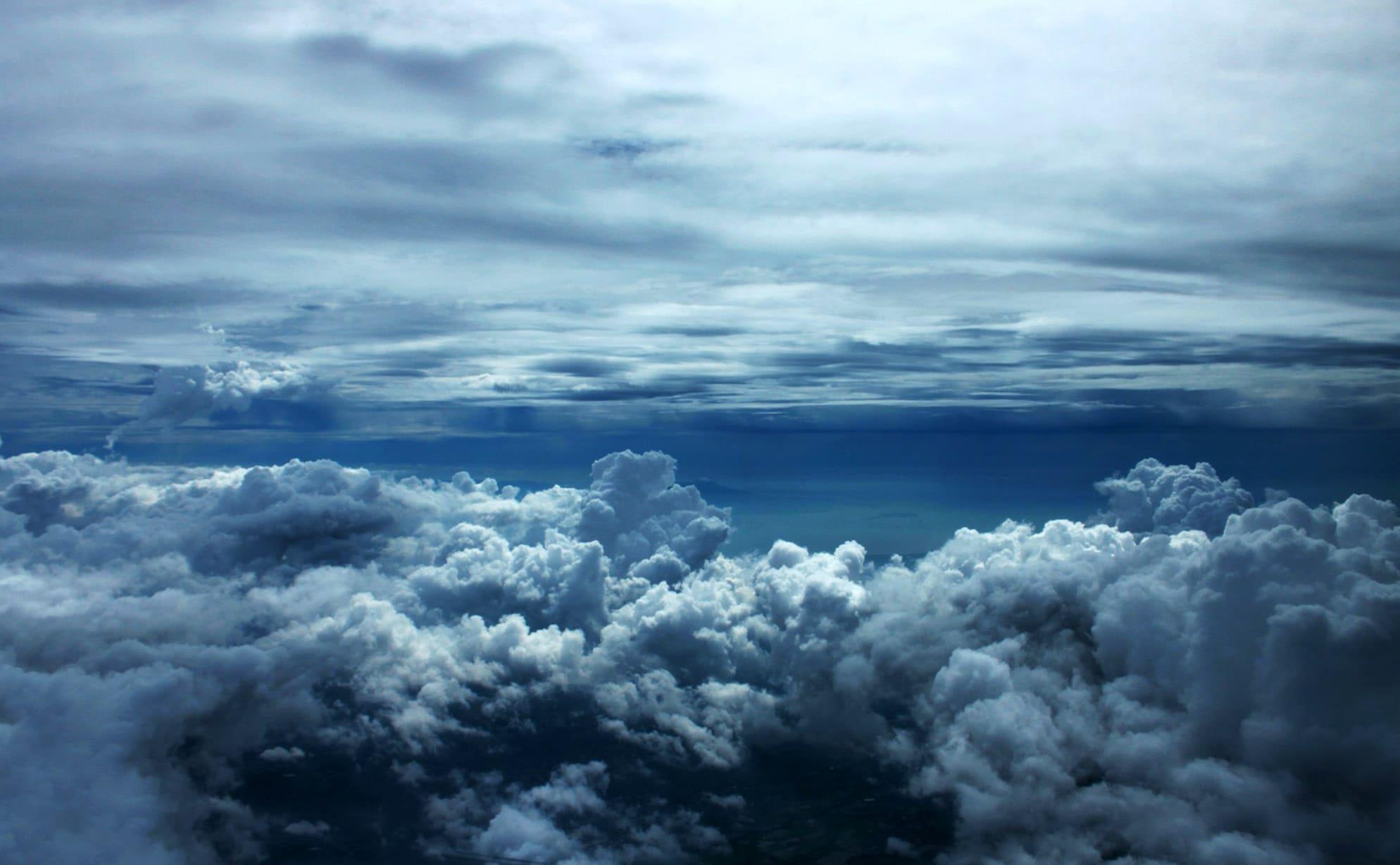 vista superior de una nube